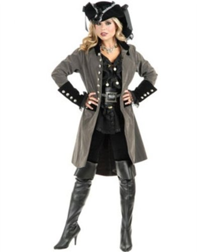 Womens Pirate Vixen Gun Metal Grey And Black Velvet Long Jacket Coat