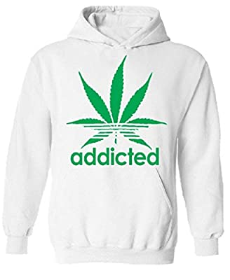 icustomworld Addicted Hoodie Green Marijuana Leaf Kush Dope Hooded Sweatshirt