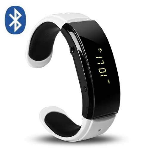 Sienoc Bluetooth Bracelet Wristband Vibrating Watch Speaker For Iphone Android (White With Black)