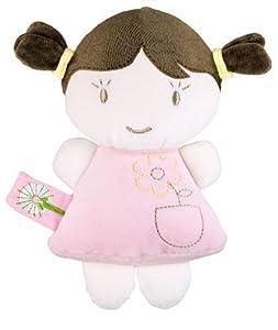 Dandelion Organic Baby Doll Rattle, Brunette