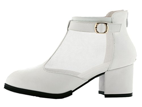 WUXING Sexy Ladies Network Yarn Buckle Square Heels Spring Autumn Shoes(6 B(M)US, white)