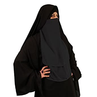 halb niqab grau muslim burka khimar islamische kleidung 11 4009 bekleidung. Black Bedroom Furniture Sets. Home Design Ideas