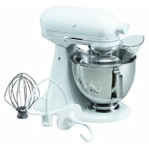 KitchenAid KSM100PSWW Ultra Power Plus 4-1/2-Quart Stand Mixer with Pouring Shield, White