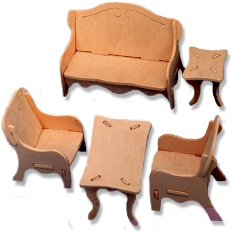3-D Wooden Puzzle - Dollhouse Livingroom Furniture Set -Affordable Gift for your Little One! Item #DCHI-WPZ-P008