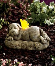 Solar Ceramic Dog Pet Memorial Garden Yard Statue with Lighted Wings 9″ X 5-1/2″ X 4-1/2″