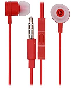 Jkobi 3.5mm In Ear Bud Handsfree Headset Earphones With Mic Compatible For Panasonic T44 -Red