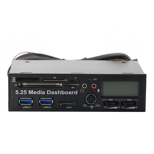 "Tabstore 5.25"" Pc Media Dashboard Lcd Front Panel Pci-E To Usb 3.0 All-In-1 Card Reader Sata"