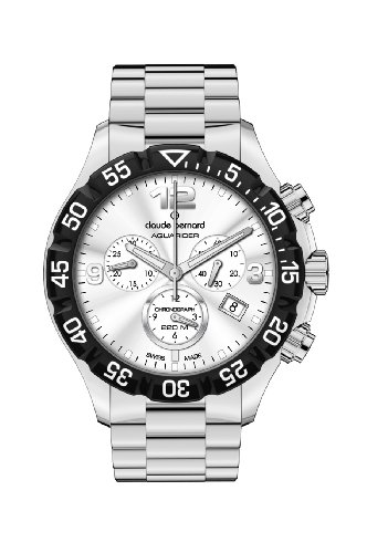 Claude Bernard Men's 10206 3 AIN Aquarider Silver Chronograph Rotating Bezel Steel Watch