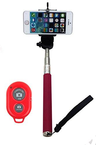 1Mセルフポートレートスティック Bluetoothワイヤレス自撮りリモートコントロール付 (1M, ピンク)