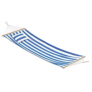 Gifts & Decor Blue and White Striped Single Person Hammock and Pillow