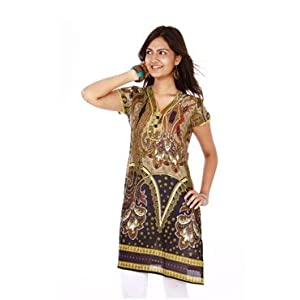 Diva International Olive SS Kurti for Women | Size XXL | Color Multicolour