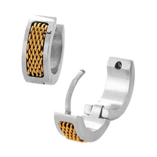 Inox Jewelry Stainless Steel Mesh Huggies Earrings, Gold