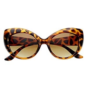 Oversized Vintage Inspired Super & Bold Retro Designer Cat Eye Sunglasses (Tortoise Shell)