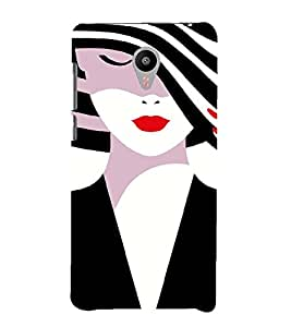 PrintVisa Fashion Girl Hat 3D Hard Polycarbonate Designer Back Case Cover for Meizu MX5