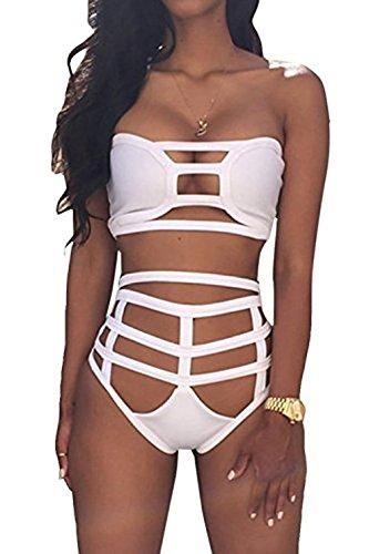 Spring Fever Women's Hollow Out Bandage Bodycon Bikini Set Swimsuit Swimwear White M (US:0)