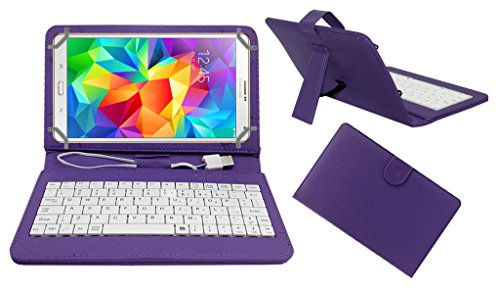 ACM PREMIUM USB KEYBOARD TABLET CASE HOLDER COVER FOR SAMSUNG GALAXY TAB S 8.4 With Free MICRO USB OTG - PURPLE