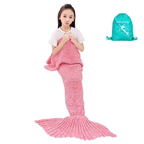 SENYANG Mermaid Tail Blanket Handmade Crochet Sofa Blankets All Seasons Sleeping Bags Best Christmas Gift For Kids and Adult (Kid Thick Pink)