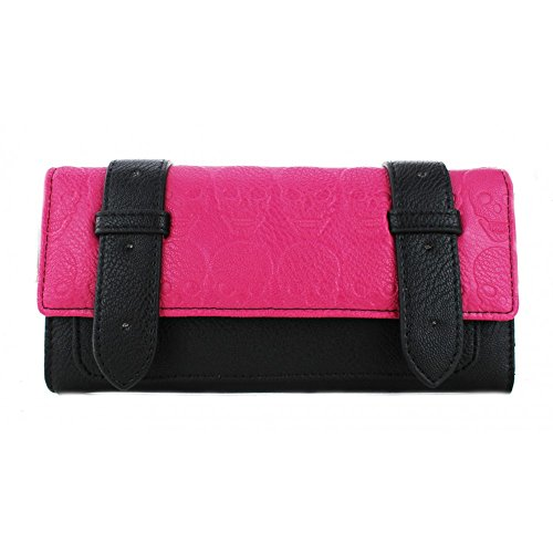 BLACK AND PINK LEATHER LOOK EMBOSSED SKULL PURSE CLUTCH WALLET NEW GIFT BOX BEDLAM