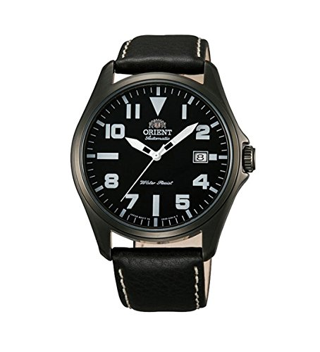 Orologio AUTOMATICO ORIENT Classic black data in pelle gun color FER2D001B0