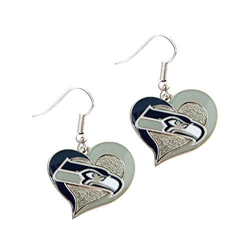 NFL Seattle Seahawks Sports Team Logo Girls Fashion Wear Swirl Heart Shape Dangle Charm Gift Earring Set