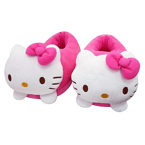 Hello Kitty Women's Die-cut Plush Slippers House Slippers Pink Indoor Us 8