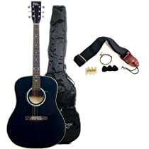 Full Size Acoustic Guitar with Free Carrying Bag and Accessories - Black