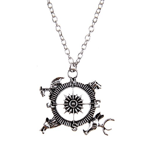 Somen Vintage Captain Compass Dragon Lion Wolf Reindeer Pendant Necklaces