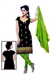 Rajlaxmi Woman's Cotton Unstiched Dress Material Multi Coloured Black & Green