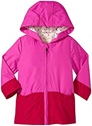 kate spade new york Babies\' Hooded Colorblock Raincoat, Vivid Snapdragon/Posey Red, 24 Months
