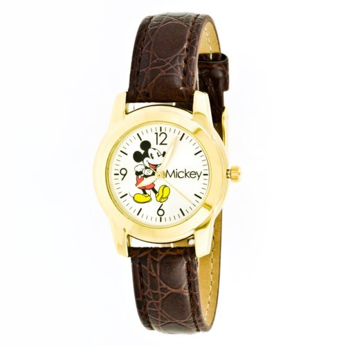 Disney Women's MCK612 Mickey Mouse Brown Strap Watch