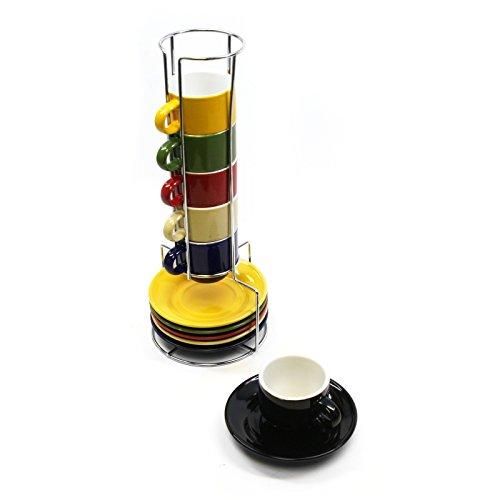 Mr. Espresso Basics 12pc Espresso Cup/Saucer Set W/Caddy
