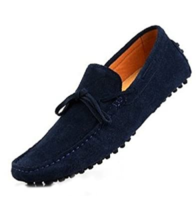 HAPPYSHOP(TM) New Mens Loafers Shoes Casual Suede Comfort Slip-on Tassel Loafer Driving Shoes EUR Size 39-45 (EUR 42, Dark Blue)