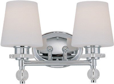 Lite Source LS-16932C/FRO Valerie 2-Lite Wall Lamp, Chrome with Frosted Glass Shade