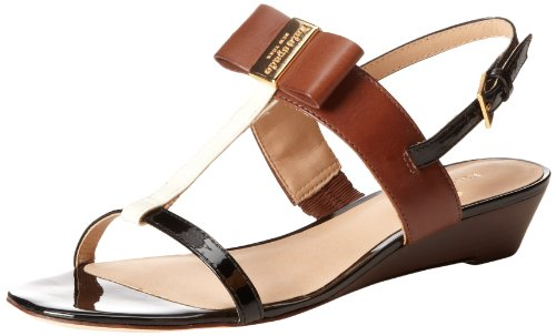 Kate Spade New York Women'S Vinny Wedge Sandal,Cream/Luggage/Black,7.5 M Us