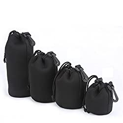 4pcs/lot Neoprene Soft Protector Camera Lens Pouch Bag Case Waterproof Backpact Size S M L Xl for Sony Canon Nikon Pentax Olympus Panasonic