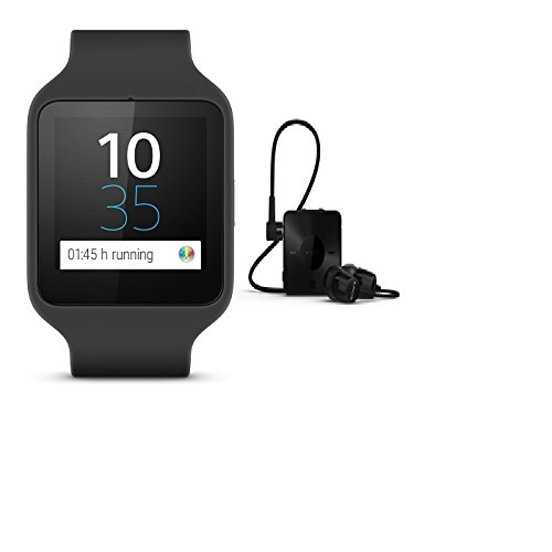 "Sony Smartwatch 3 Classic + SBH20 - Smartwatch Android (pantalla 1.6"", 4 GB, Quad-Core 1.2 GHz, 512 MB RAM) con auriculares in-ear SBH20, negro"