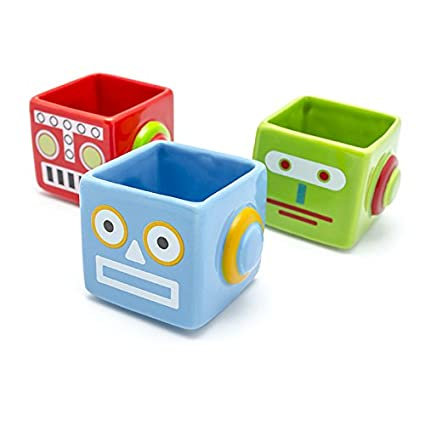 Bot Shots - 2-ounce Retro-style Robot Shot Glasses, Set of 3