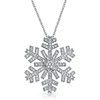 Bling Jewelry Pave CZ Large Snowflake Pendant Necklace