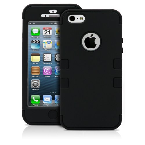 Iphone 5 Case, Magicmobile® Hybrid Impact Two Layers Of Protection Hard Plastic And Soft Silicone Case [Black - Black] W/ Charm