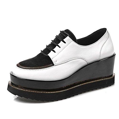 2016Scarpe primavera/scarpe pedana piatta/scarpe casual di tutti i giorni singolare femminile fondo pesante/scarpe bianche-B Lunghezza piede=22.3CM(8.8Inch)