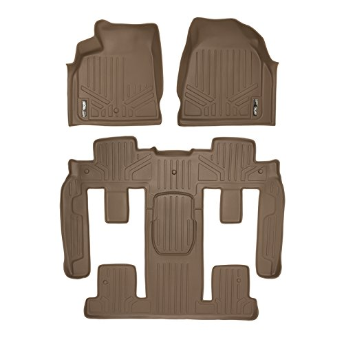 MAXFLOORMAT Floor Mats (2 Row Set) and MAXTRAY Cargo Liner Behind 3rd Row Traverse / Enclave Bench Seat 2008-2016 Tan (Buick Enclave Car Mats compare prices)