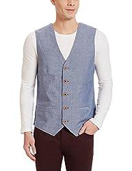 U.S.Polo.Assn. Mens Cotton Waistcoat (8907163937360_USVC0006_M _Blue)