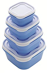 Patidar Polymers Multiuse Airtight FoodSaver Container Set Blue (2400, 1400, 800, 400 ml)