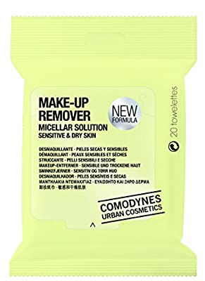 Comodynes Makeup Removers Toweletts for Face and Eyes with Oats for Dry Skin. 3 -20 towels packs