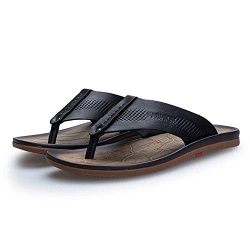 Autumn Melody Fashion Outdoor Flip Flops Exquisite Handmade Genuine Leather Men Sandals Size 10.5 US Black