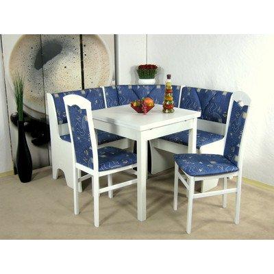 4-tlg. Essgruppe Halle I mit Eckbank Farbe (Bezug): Blau gemustert, Farbe (Gestell): Weiß