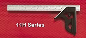 Starrett 11H-6-4R 6-Inch Combination Square with Cast Iron Head and Black Wrinkle Finish
