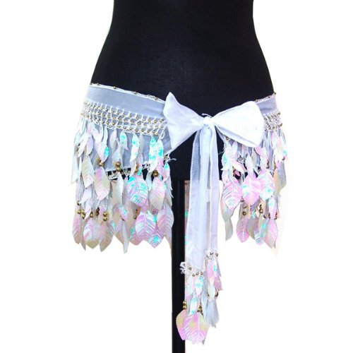 Belly Dance Silk Chiffon Shiny Leaf Hip Scarf Belt Wrap -- Ivory & Gold