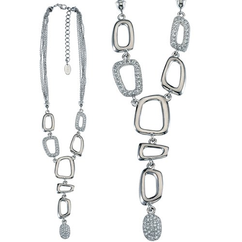 Rhodium Plated Fashion Necklace with 16