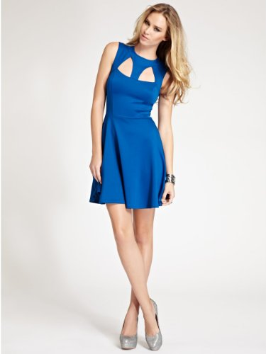 GUESS Fit-and-Flare Dress with Cutouts, ELECTRIC BLUE (XS)